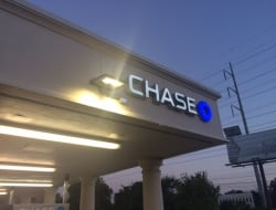 Installing a new sign for Chase Bank